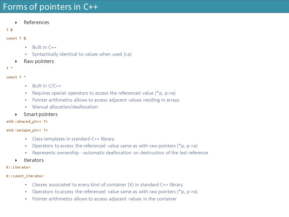 Forms of pointers in C++