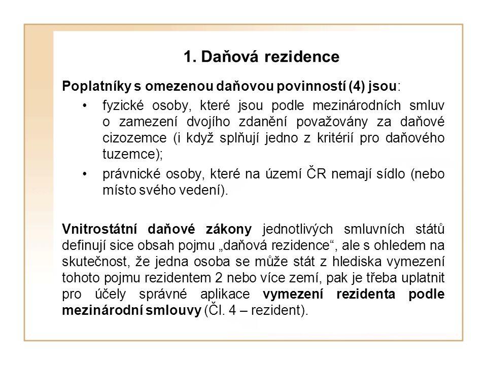1. Daňová rezidence Poplatníky s omezenou daňovou povinností (4) jsou: