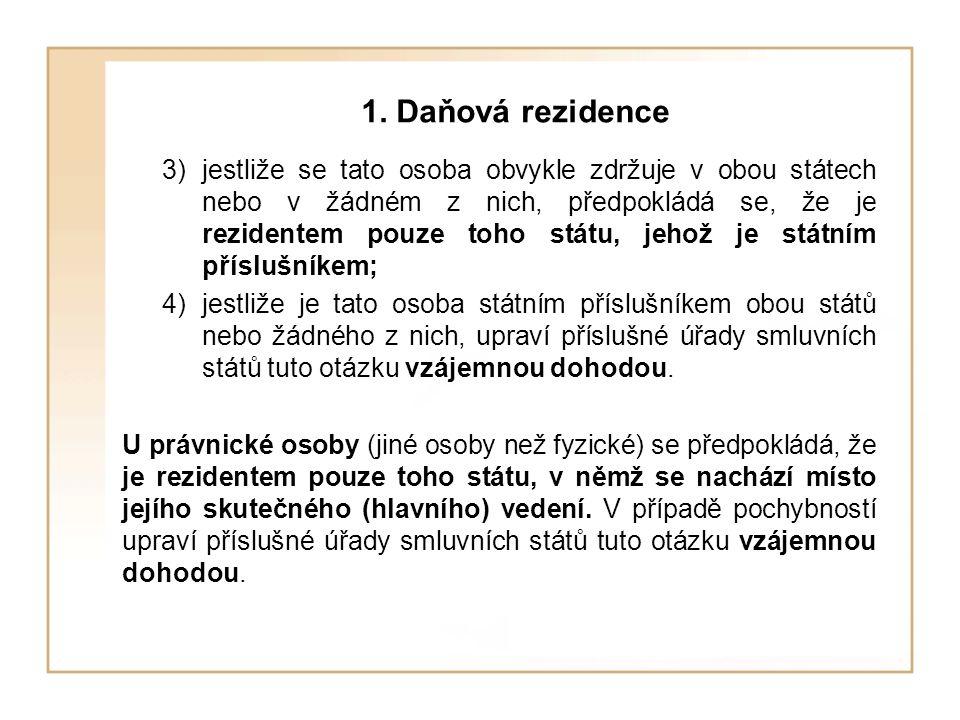1. Daňová rezidence
