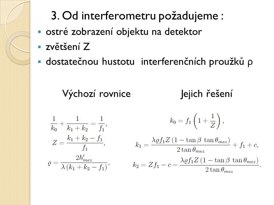 3. Od interferometru požadujeme :