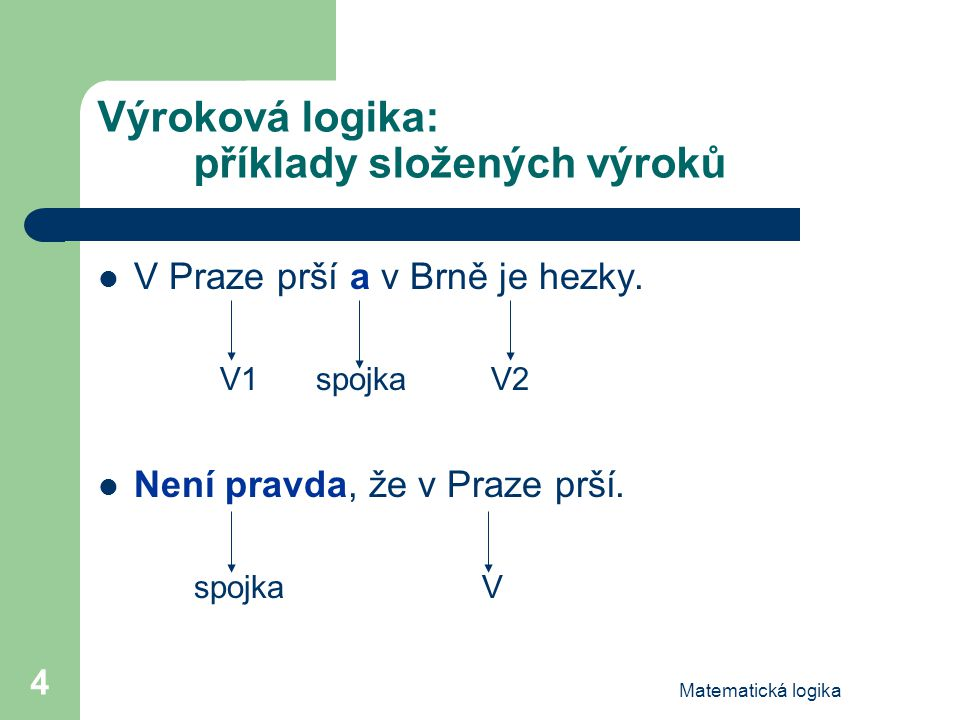 Výroková logika: příklady složených výroků