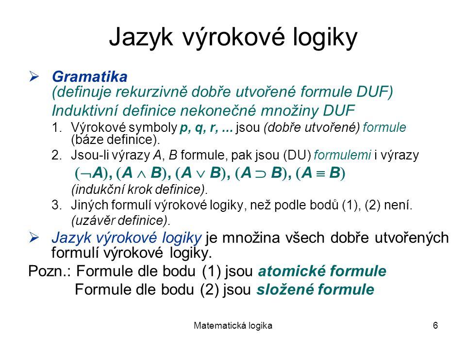 Jazyk výrokové logiky Gramatika (definuje rekurzivně dobře utvořené formule DUF) Induktivní definice nekonečné množiny DUF.