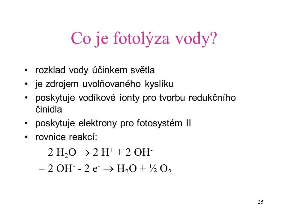 Co je fotolýza vody 2 H2O  2 H+ + 2 OH- 2 OH- - 2 e-  H2O + ½ O2