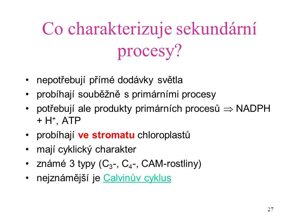Co charakterizuje sekundární procesy