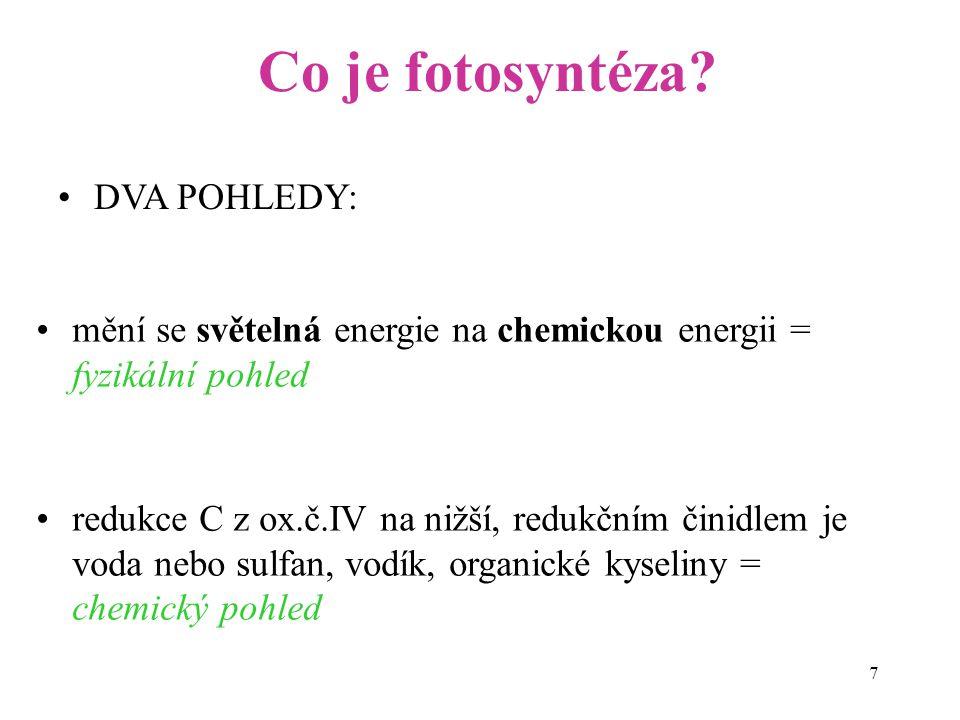 Co je fotosyntéza DVA POHLEDY: