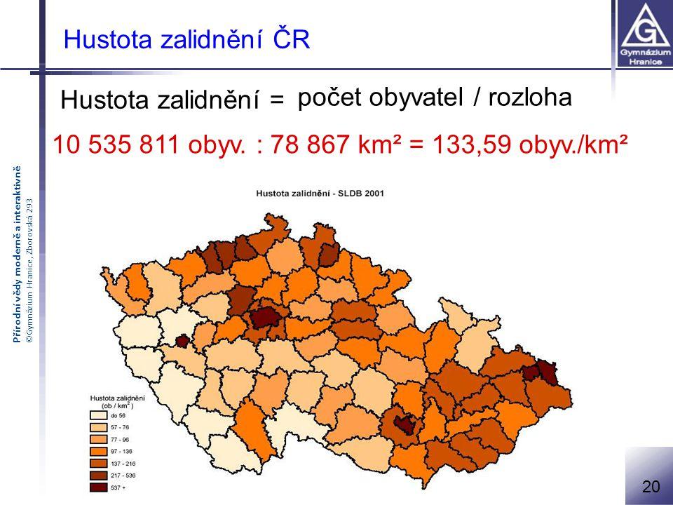 počet obyvatel / rozloha