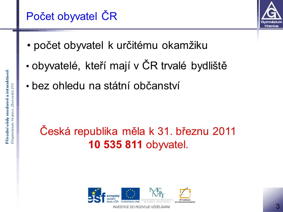 Česká republika měla k 31. březnu 2011 10 535 811 obyvatel.