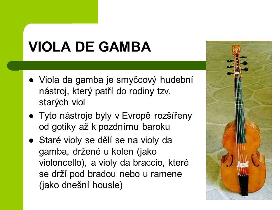 VIOLA DE GAMBA Viola da gamba je smyčcový hudební nástroj, který patří do rodiny tzv. starých viol.