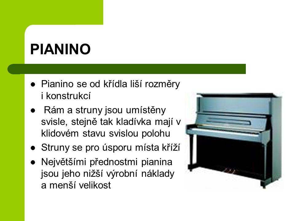 PIANINO Pianino se od křídla liší rozměry i konstrukcí