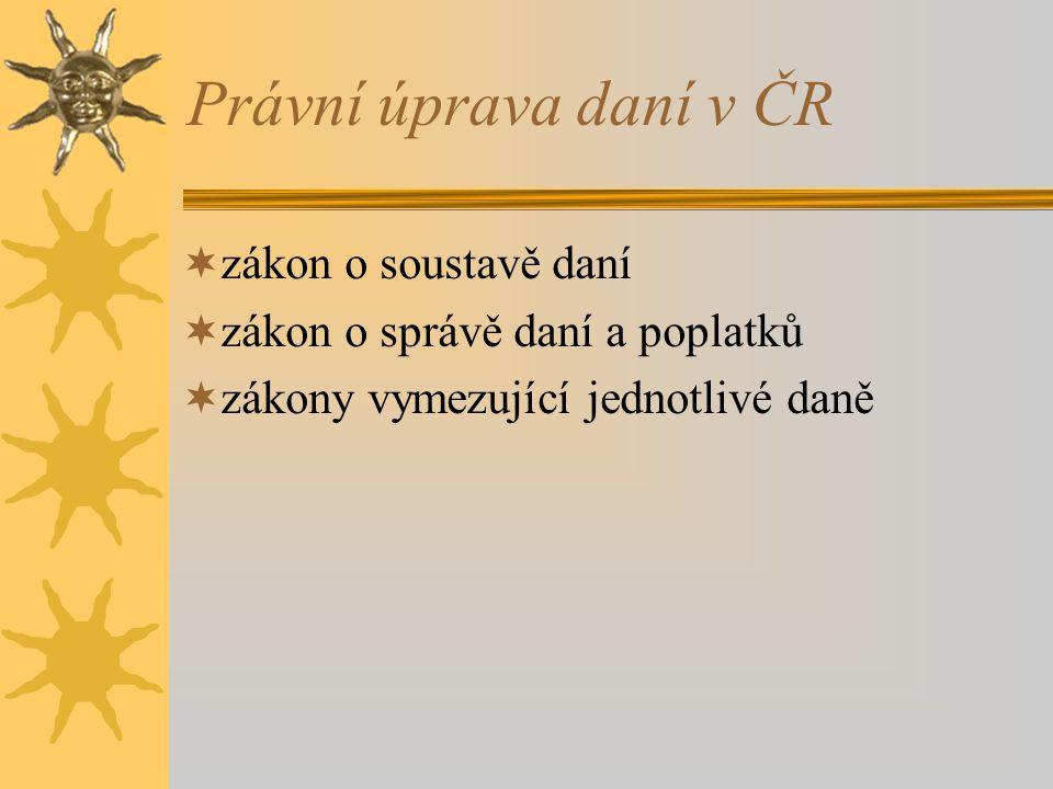 Právní úprava daní v ČR zákon o soustavě daní