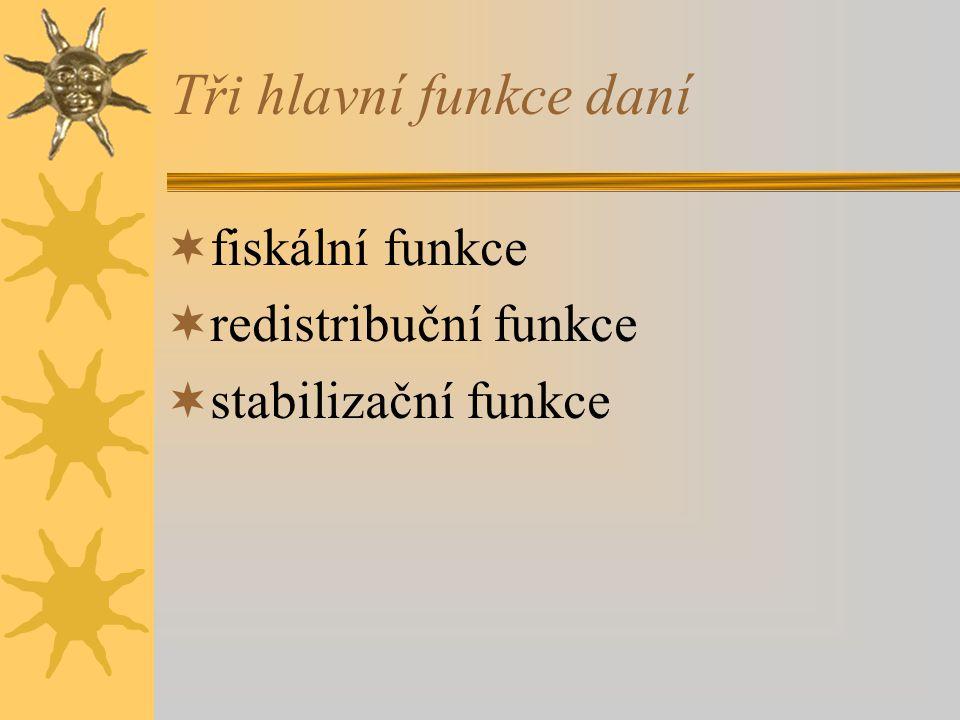 Tři hlavní funkce daní fiskální funkce redistribuční funkce