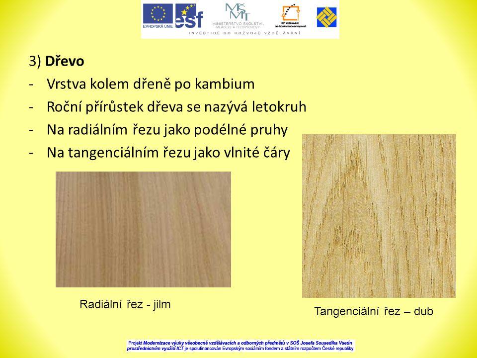 Vrstva kolem dřeně po kambium Roční přírůstek dřeva se nazývá letokruh