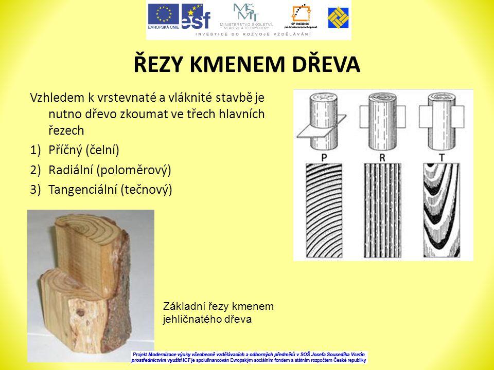 ŘEZY KMENEM DŘEVA Vzhledem k vrstevnaté a vláknité stavbě je nutno dřevo zkoumat ve třech hlavních řezech.