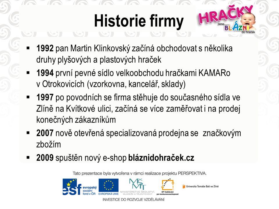 Historie firmy 1992 pan Martin Klinkovský začíná obchodovat s několika druhy plyšových a plastových hraček.