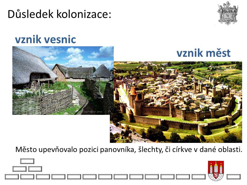 Důsledek kolonizace: vznik vesnic vznik měst