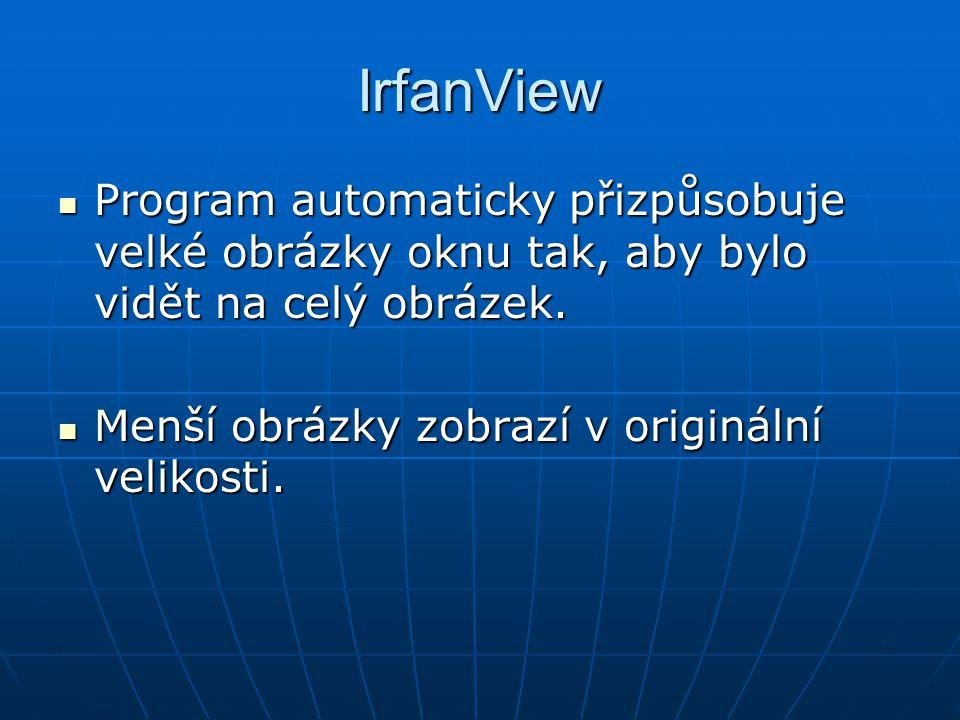 IrfanView Program automaticky přizpůsobuje velké obrázky oknu tak, aby bylo vidět na celý obrázek.