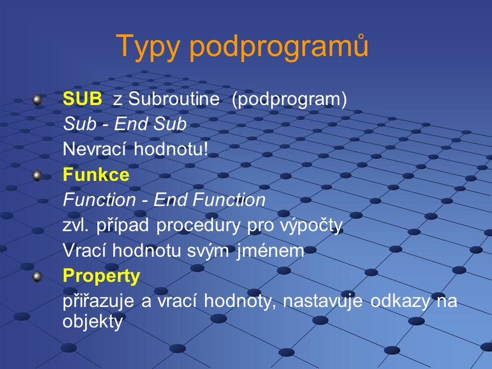 Typy podprogramů SUB z Subroutine (podprogram) Sub - End Sub
