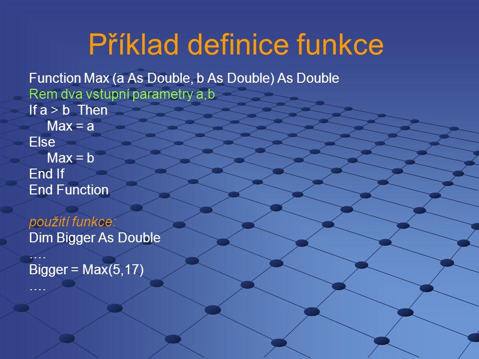 Příklad definice funkce