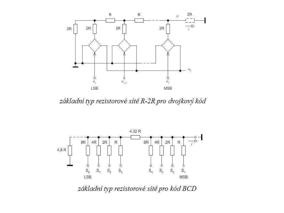 základní typ rezistorové sítě R-2R pro dvojkový kód