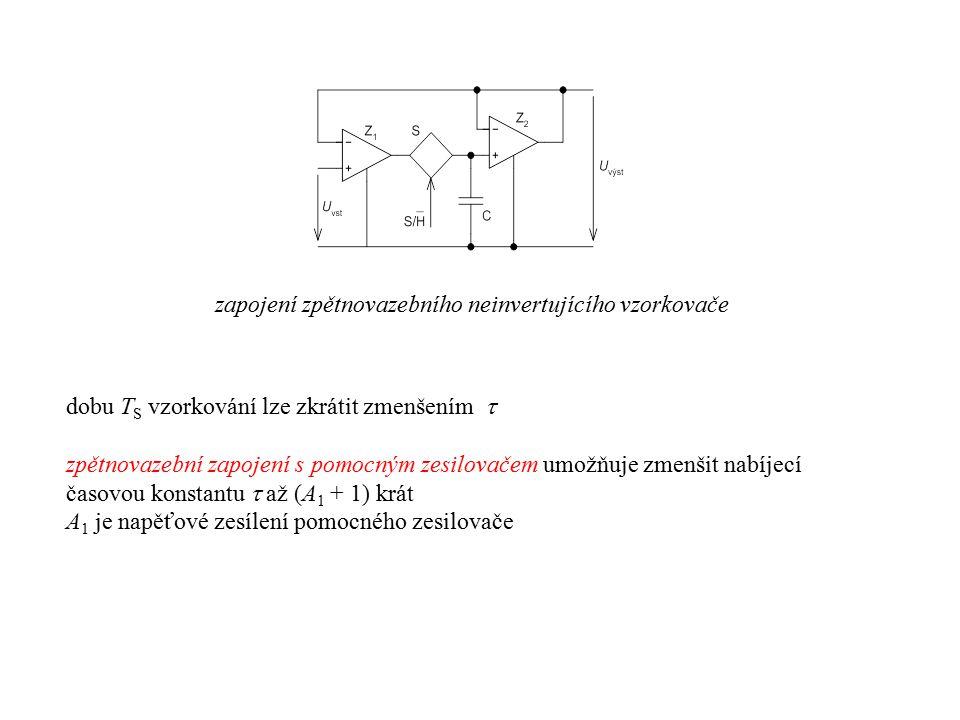 zapojení zpětnovazebního neinvertujícího vzorkovače