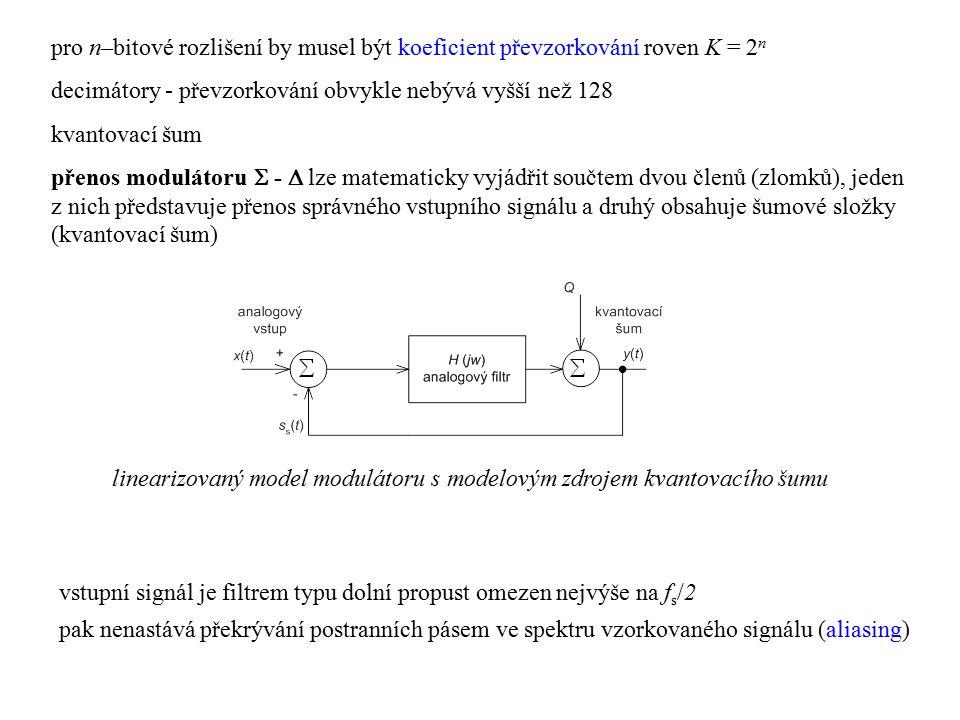 pro n–bitové rozlišení by musel být koeficient převzorkování roven K = 2n