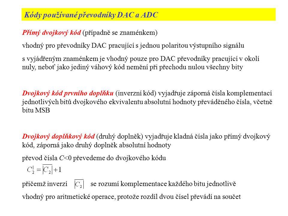 Kódy používané převodníky DAC a ADC