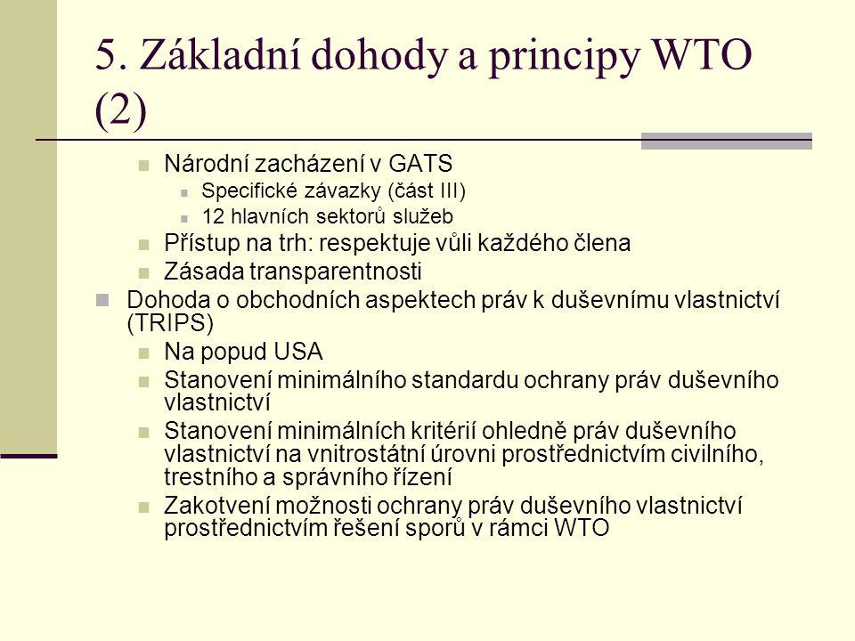 5. Základní dohody a principy WTO (2)