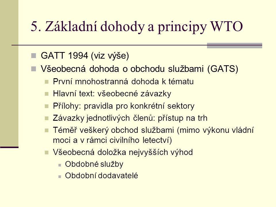 5. Základní dohody a principy WTO