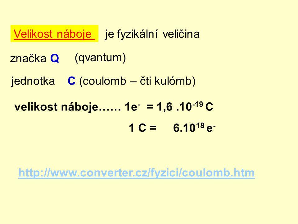 Velikost náboje je fyzikální veličina. značka Q. (qvantum) jednotka. C (coulomb – čti kulómb) velikost náboje…… 1e- = 1,6 .10-19 C.
