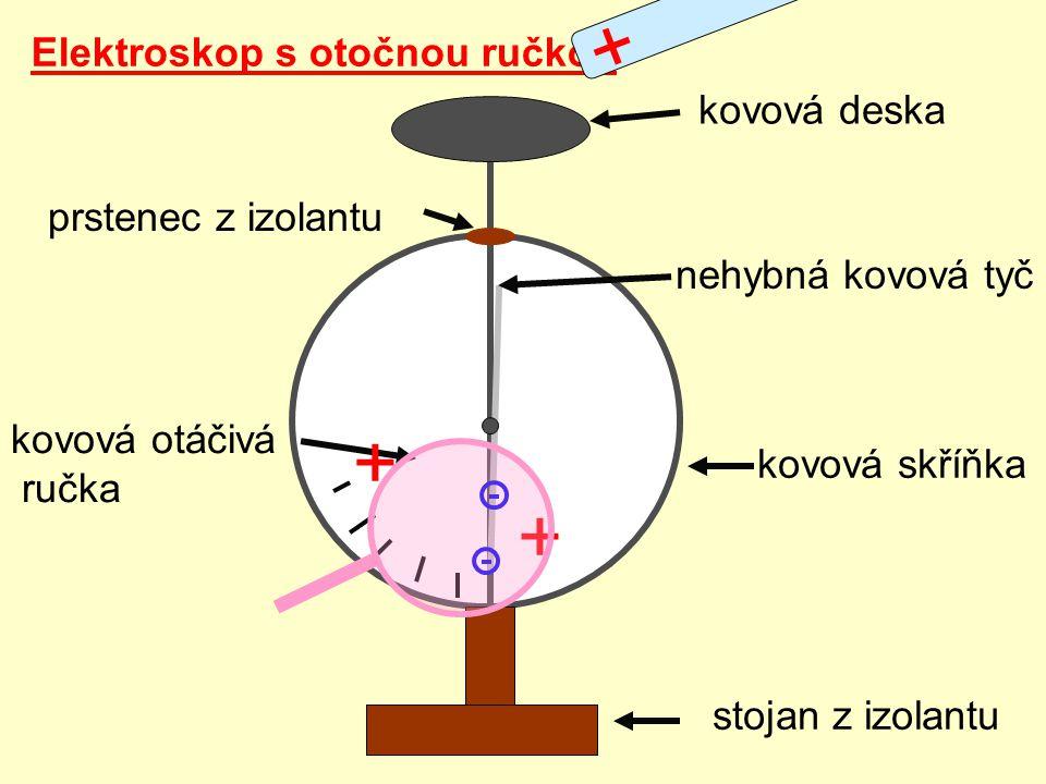 + + + Elektroskop s otočnou ručkou kovová deska prstenec z izolantu