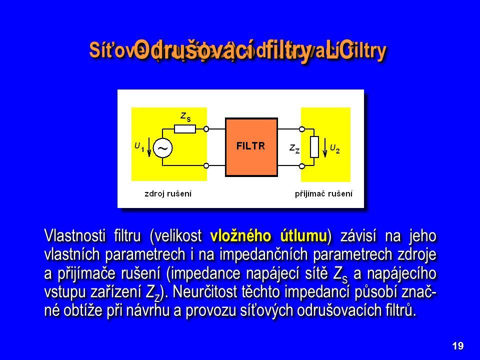 Odrušovací filtry LC Síťové (napájecí) odrušovací filtry