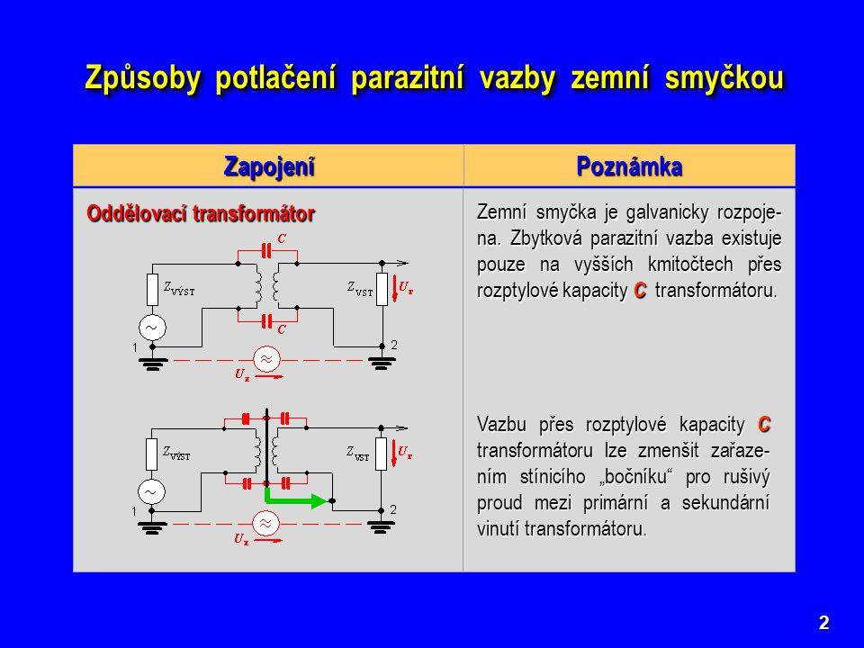 Způsoby potlačení parazitní vazby zemní smyčkou