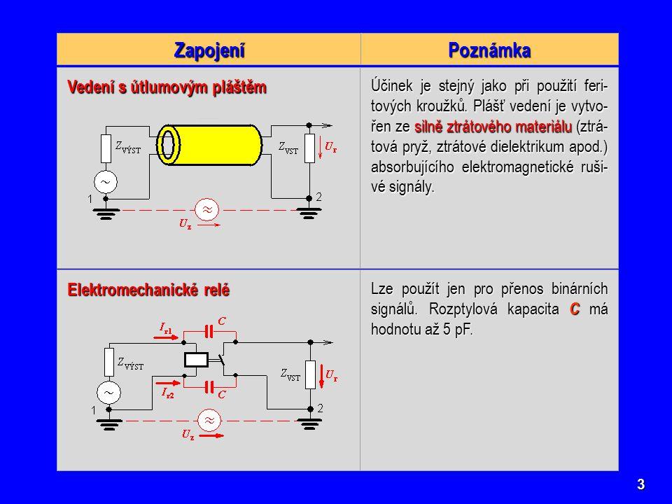Poznámka Zapojení Vedení s útlumovým pláštěm Elektromechanické relé