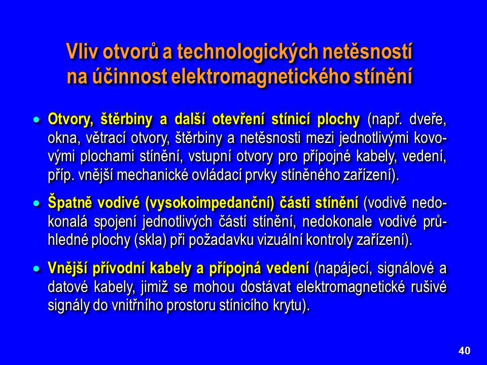 Vliv otvorů a technologických netěsností na účinnost elektromagnetického stínění