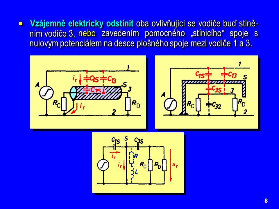 Vzájemně elektricky odstínit oba ovlivňující se vodiče buď stíně-ním vodiče 3,