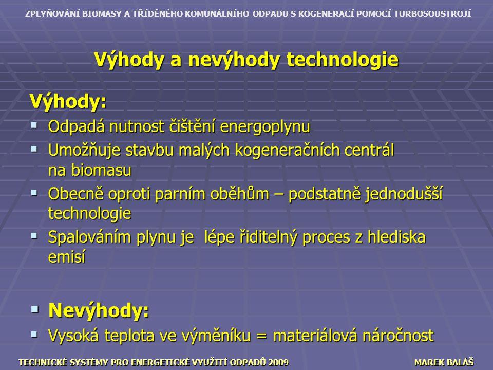 Výhody a nevýhody technologie