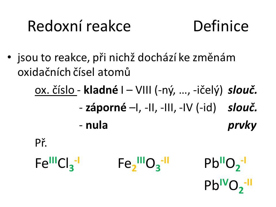 Redoxní reakce Definice