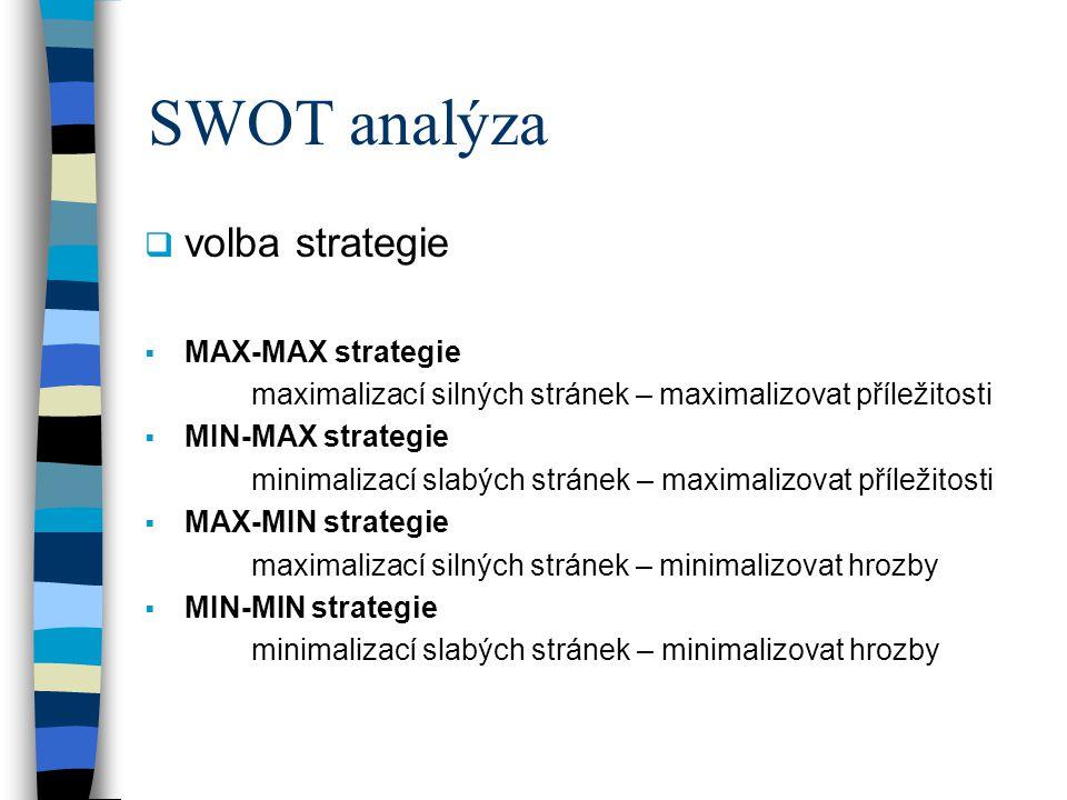 SWOT analýza volba strategie MAX-MAX strategie