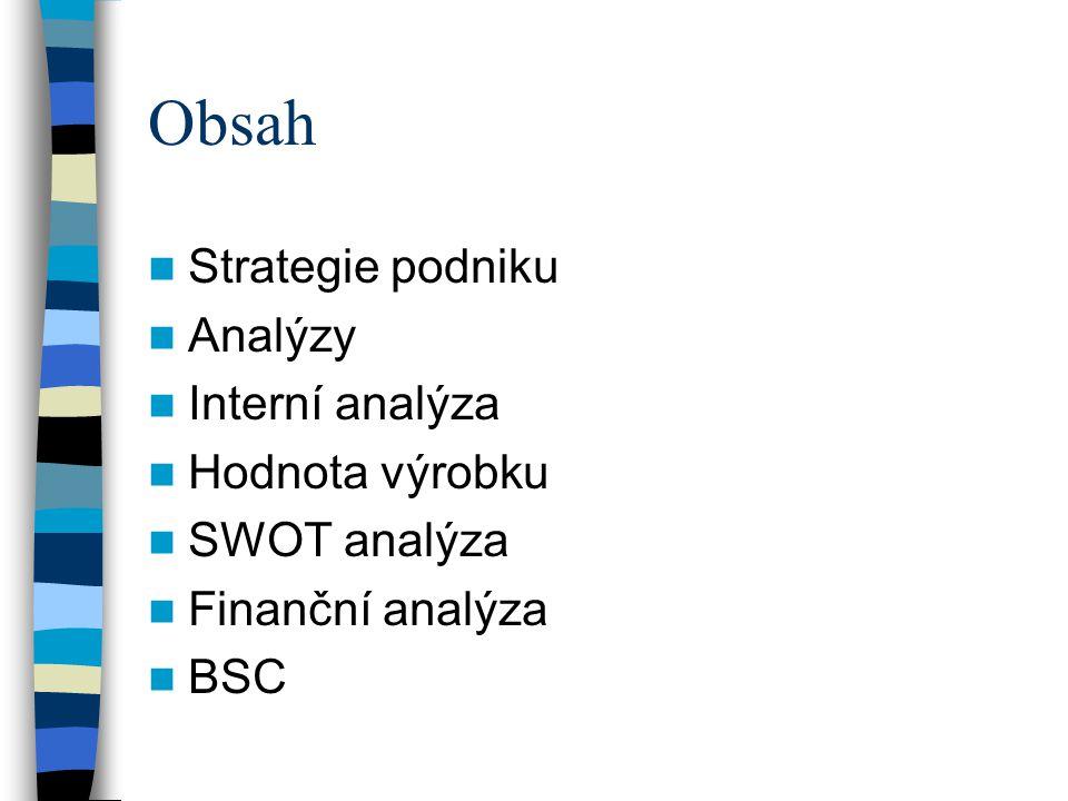 Obsah Strategie podniku Analýzy Interní analýza Hodnota výrobku