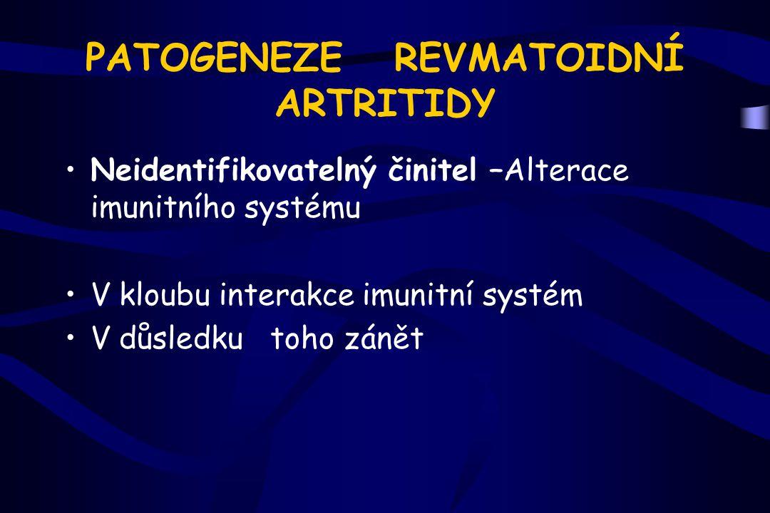 PATOGENEZE REVMATOIDNÍ ARTRITIDY