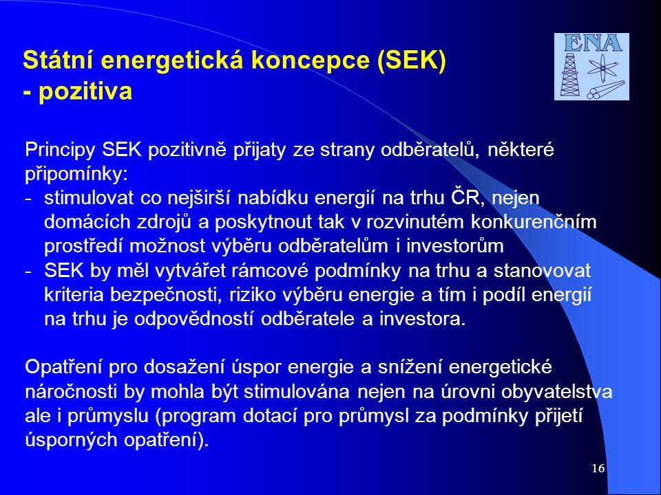 Státní energetická koncepce (SEK) - pozitiva