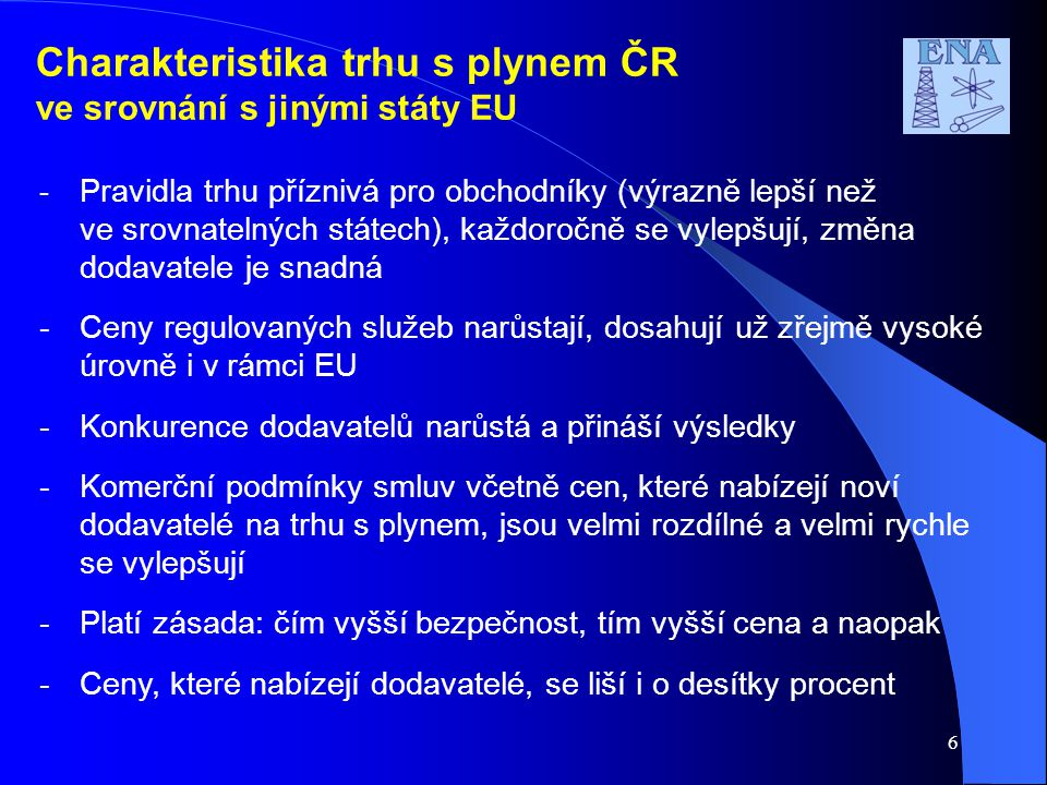 Charakteristika trhu s plynem ČR