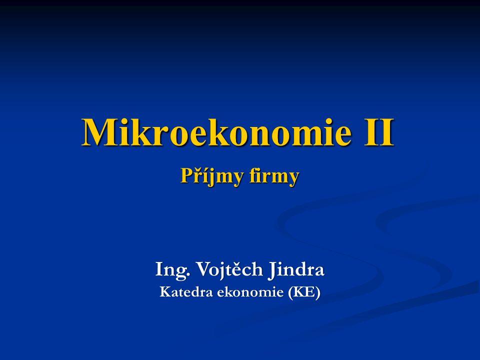 Mikroekonomie II Příjmy firmy Ing. Vojtěch Jindra