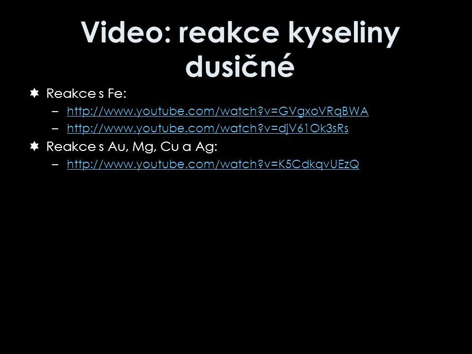 Video: reakce kyseliny dusičné