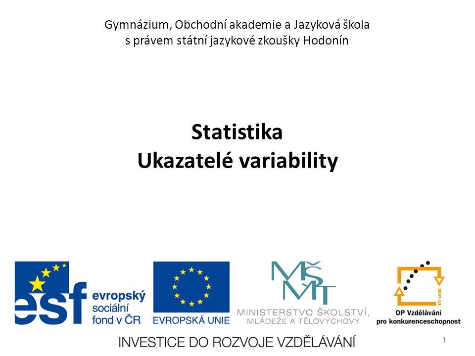 Statistika Ukazatelé variability