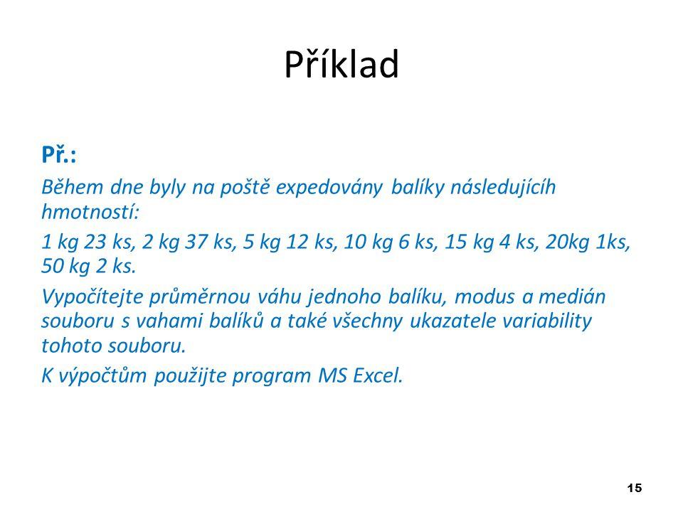 Příklad Př.: Během dne byly na poště expedovány balíky následujícíh hmotností: