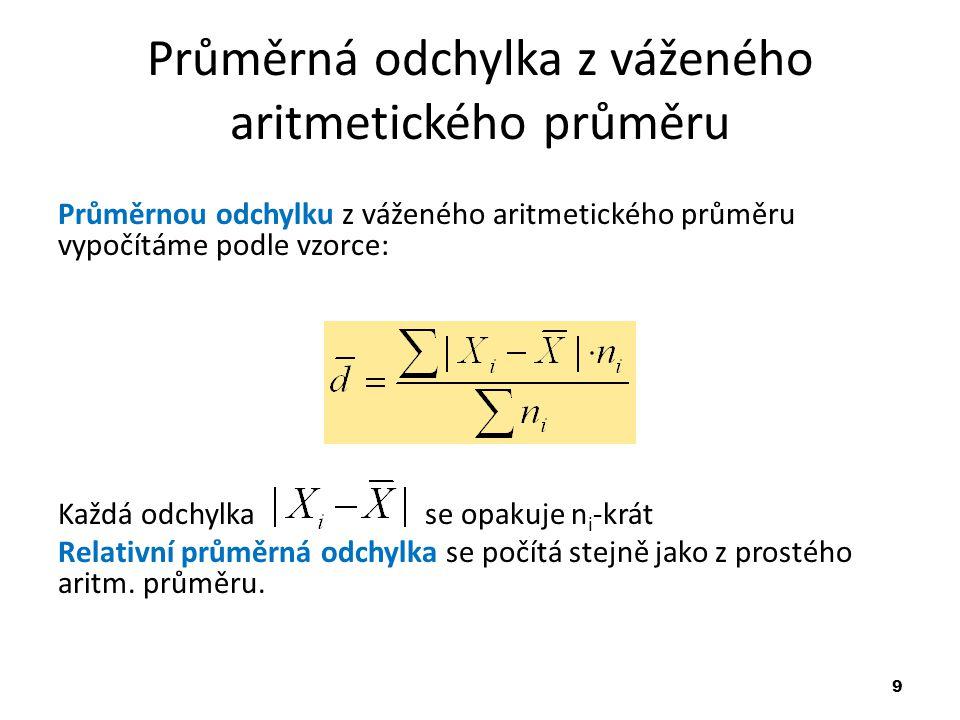 Průměrná odchylka z váženého aritmetického průměru