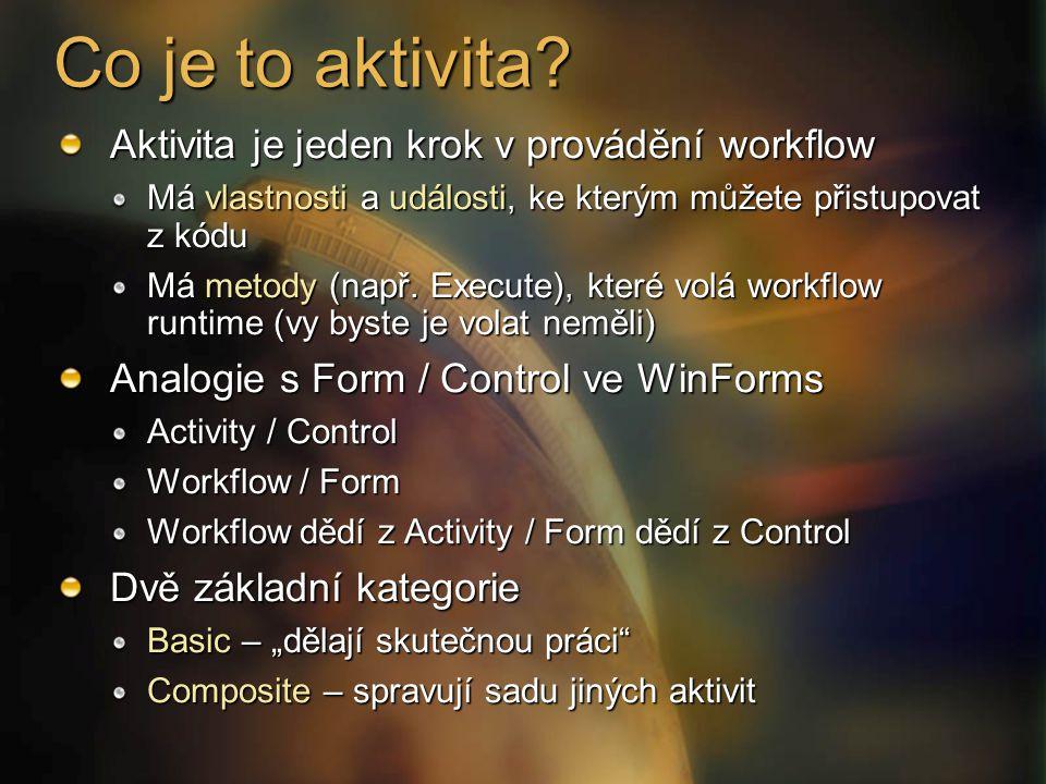 Co je to aktivita Aktivita je jeden krok v provádění workflow