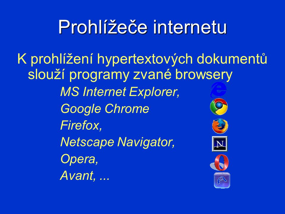 Prohlížeče internetu K prohlížení hypertextových dokumentů slouží programy zvané browsery. MS Internet Explorer,