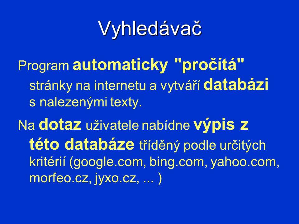Vyhledávač Program automaticky pročítá stránky na internetu a vytváří databázi s nalezenými texty.